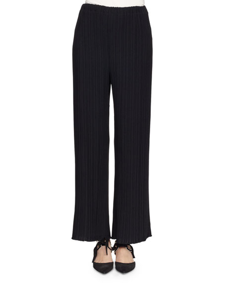 Proenza Schouler Pleated Wide-Leg Suiting Pants, Black