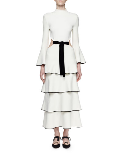 Bell-Sleeve Tiered Maxi Dress W/Cutout, Off White/Black