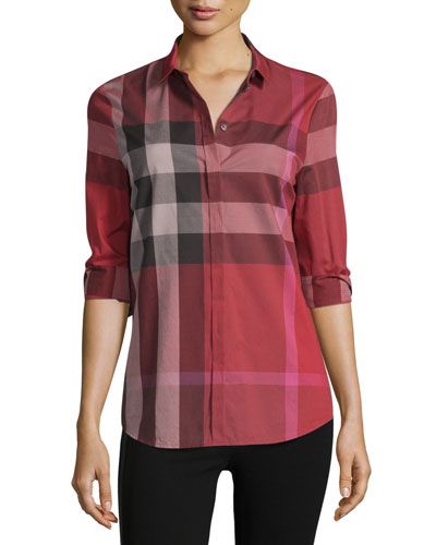 Long-Sleeve Check Cotton Shirt, Berry Red