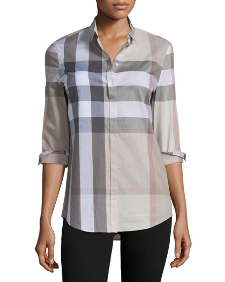 Burberry Brit Long-Sleeve Button-Front Check Shirt, Pale Stone