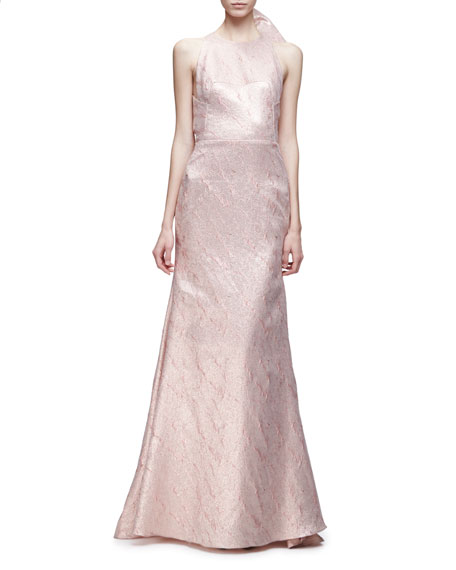 Lela Rose Sleeveless Bow-Back Mermaid Gown, Blush