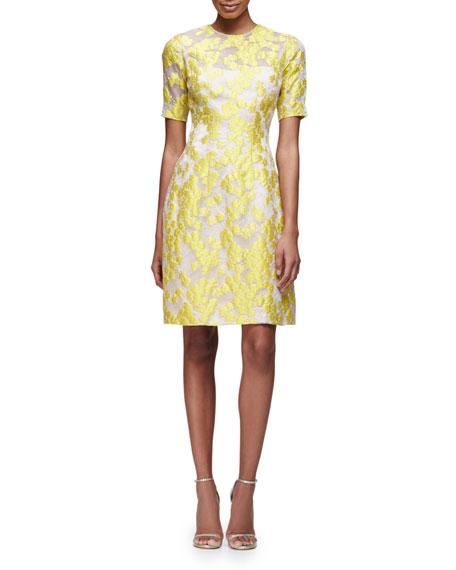 Lela Rose Holly Elbow-Sleeve Daisy-Print Dress, Citrine