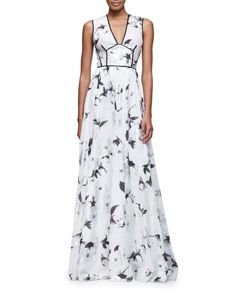 Lela Rose Sleeveless V-Neck Metallic-Floral Gown, Silver