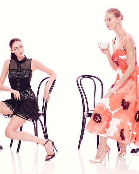 Sleeveless Oversize-Floral Midi Dress, Red/Multi