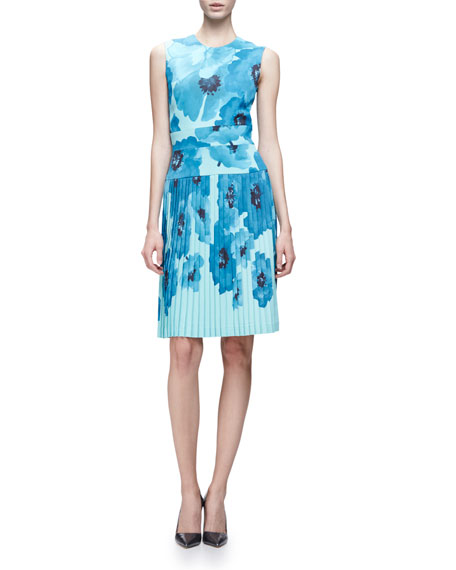 Lela Rose Sleeveless Oversize-Floral Sheath Dress, Blue/Multi