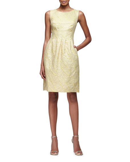 Lela Rose Felicia Classic Sparkle Tweed Sheath Dress,