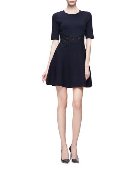 Lela Rose Short-Sleeve Lace-Inset Mini Dress, Navy