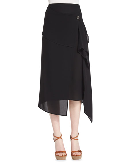 Michael Kors Mid-Rise Asymmetric Silk Midi Skirt, Black