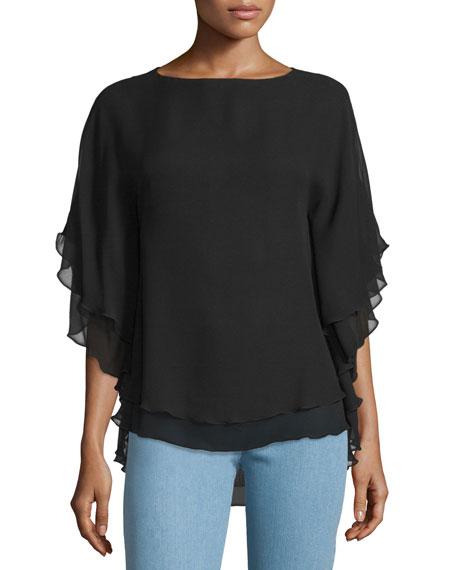 Michael Kors Collection Half-Sleeve Layered Top, Black