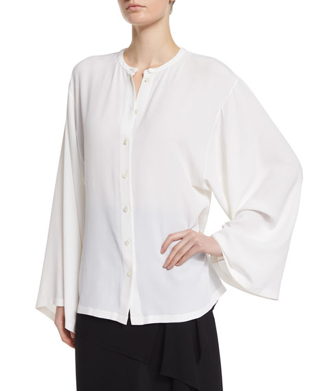 Michael Kors Collection Button-Front Silk Kimono Shirt, White