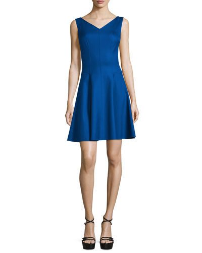 Michael Kors Collection Sleeveless V-Neck Dance Dress, Lapis