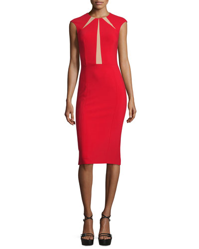 Cap-Sleeve Contrast-Inset Sheath Dress, Crimson