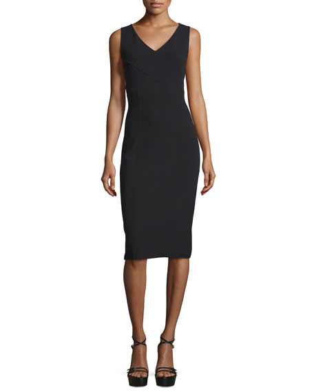 Michael Kors Collection Sleeveless Crossover V-Neck Sheath Dress,