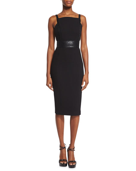 Michael Kors Collection Low-Back Embellished Sheath Dress, Black