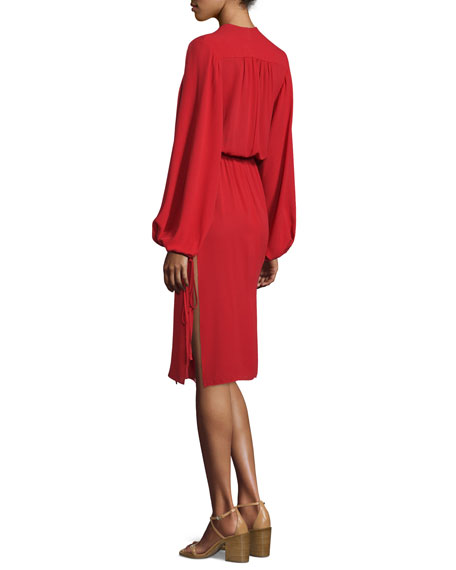 Long-Sleeve Plunging-V-Neck Dress, Crimson