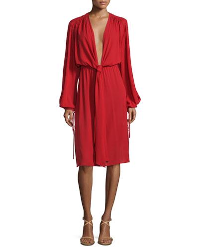 Long-Sleeve Plunging-V-Neck Dress, Crimson