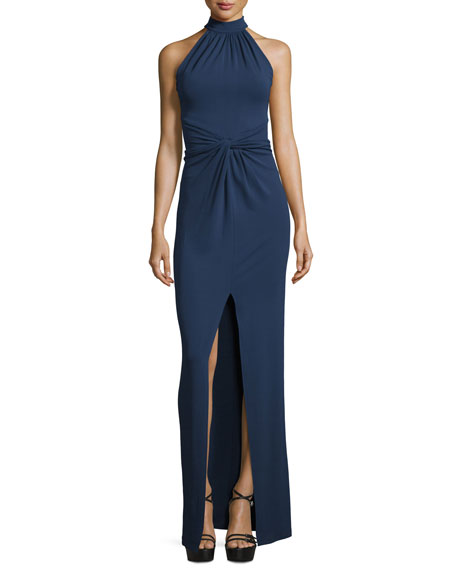 Michael Kors Collection Halter-Neck Front-Twist Gown, Indigo