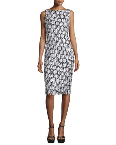 Sleeveless Floral-Embellished Sheath Dress, Black/Optic White