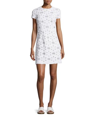 Short-Sleeve Floral-Applique Dress, Optic White