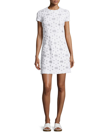 Short-Sleeve Floral-Applique Dress, Optic White