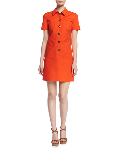 Michael Kors Collection Short-Sleeve Button-Front Polo Dress,