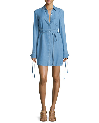 Long-Sleeve Button-Front Shirtdress, Sky Blue