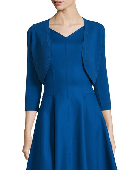 Michael Kors Collection 3/4-Sleeve Open-Front Shrug, Lapis