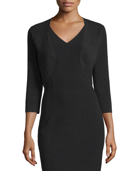 Michael Kors Collection 3/4-Sleeve Open-Front Shrug, Black