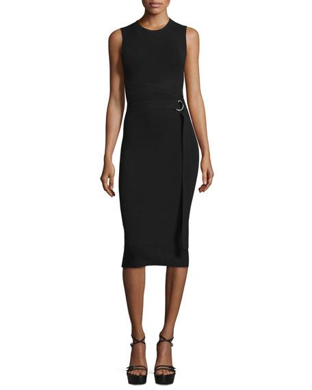 Michael Kors Sleeveless Wrap-Belt Sheath Dress, Black