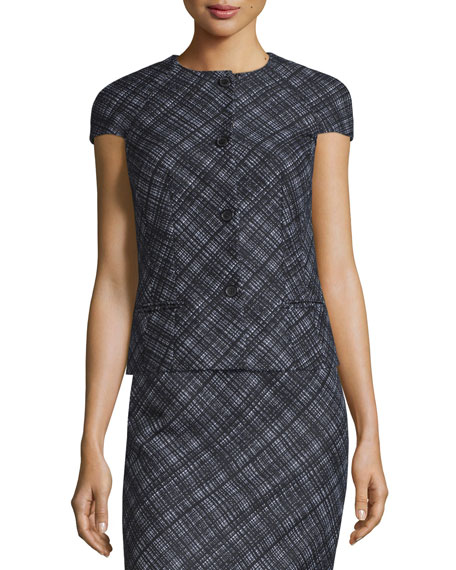 Michael Kors Collection Cap-Sleeve Button-Front Plaid Jacket,