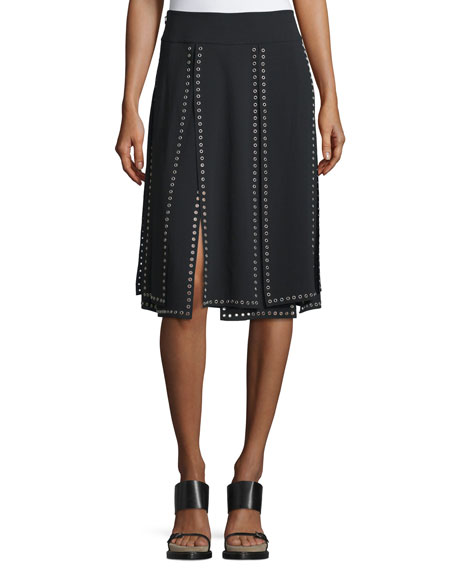 Michael Kors Collection Grommet-Embellished Carwash Skirt, Black