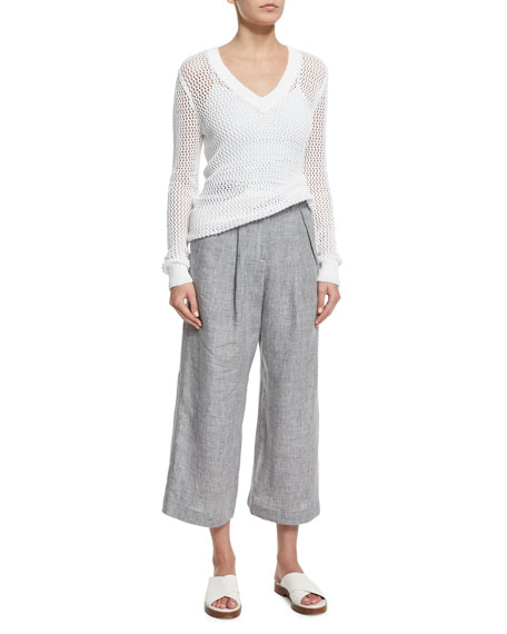 Mid-Rise Pleated-Front Cropped Linen Pants, Pearl Gray Melange