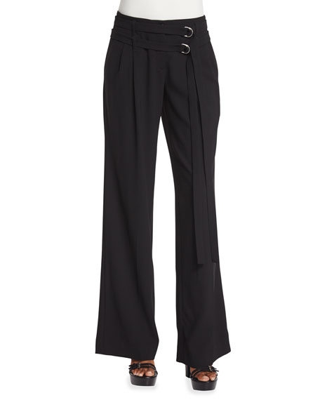 Michael Kors Collection Pleated-Front Wrap-Belt Wool Pants, Black