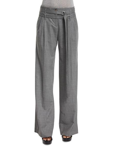 Michael Kors Pleated-Front Wide-Leg Belted Pants, Banker Melange