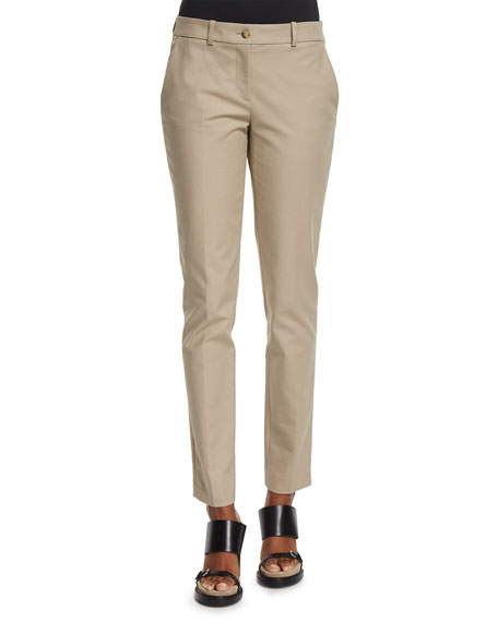 Michael Kors Samantha Mid-Rise Twill Ankle Pants, Sand