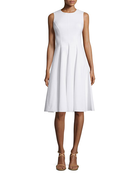 Michael Kors CollectionSleeveless Belted Fit-&-Flare Dress, Optic