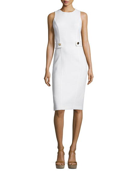 Michael Kors Collection Sleeveless Button-Waist Sheath Dress, White
