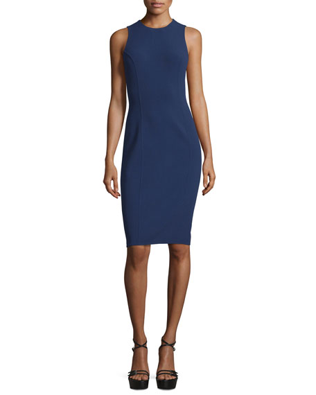 Michael Kors Collection Sleeveless Jewel-Neck Sheath Dress, Indigo