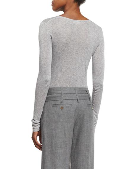 Long-Sleeve Round-Neck Tee, Heather Gray