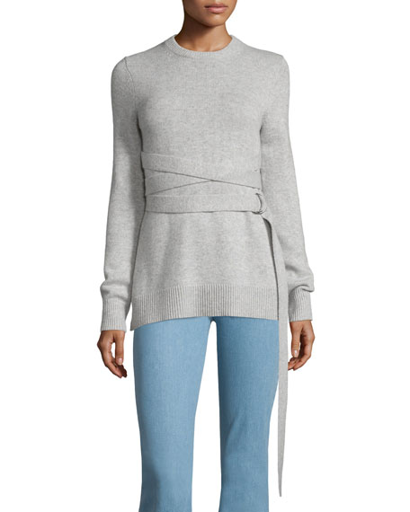 Michael Kors Wrap-Belt Cashmere Sweater, Gray