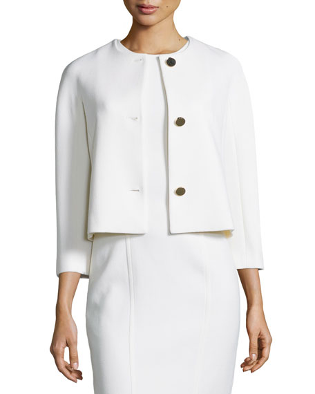 Michael Kors Collection 3/4-Sleeve Dolman Jacket, White