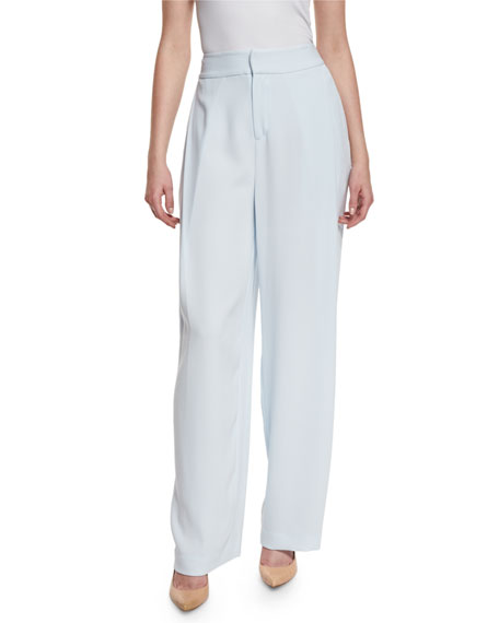 Flat-Front Wide-Leg Pants, Baby Blue