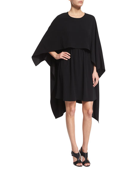 Co Long-Sleeve Cape Dress, Black