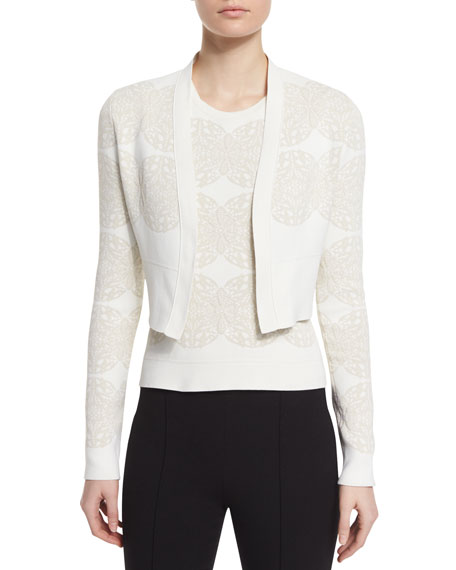 Derek Lam Long-Sleeve Medallion Cropped Cardigan, Ivory/Multi