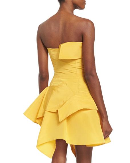 Strapless Silk Faille Cocktail Dress, Yellow