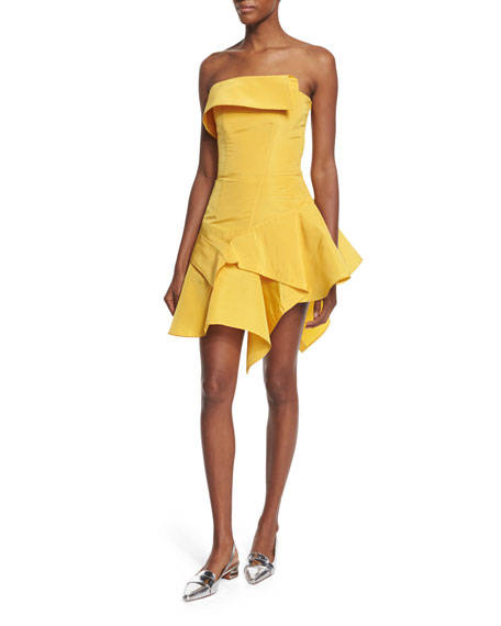 Monse Strapless Silk Faille Cocktail Dress, Yellow