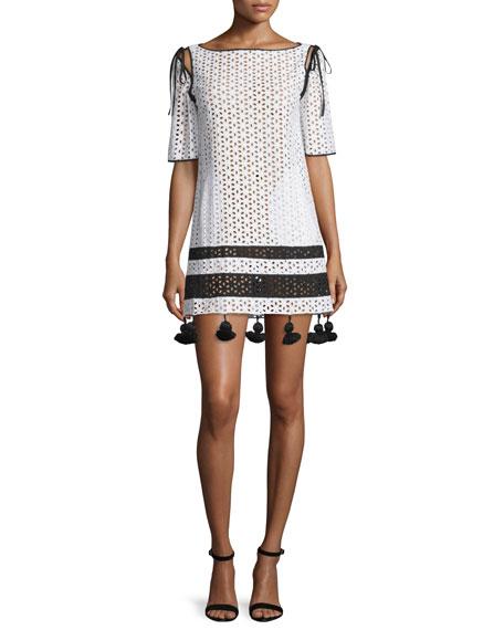 Monse Half-Sleeve Eyelet Shift Dress W/Tassel Trim, Ivory/Black