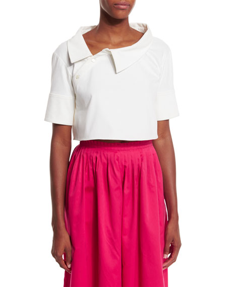 Monse Short-Sleeve Asymmetric-Collar Crop Top, White