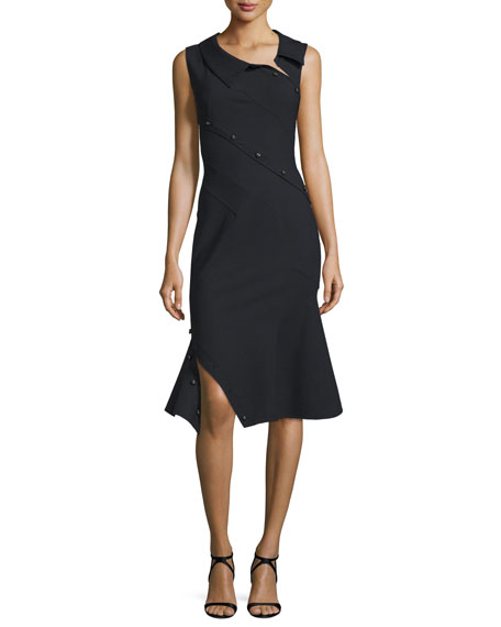 MonseSleeveless Asymmetric Fit-&-Flare Dress, Black