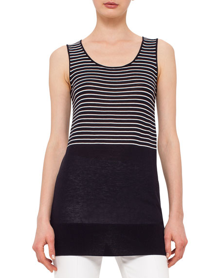 Akris punto Sleeveless Half-Striped Top, Navy/Cream